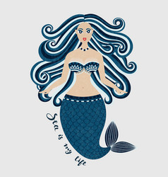 Mermaid hand drawn sea girl woman with tail vector