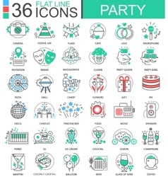 Party club color flat line outline icons vector image