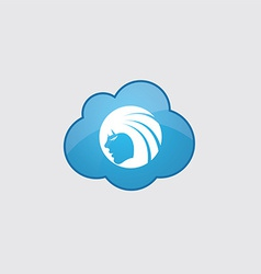 Blue cloud Beauty girl face icon vector image
