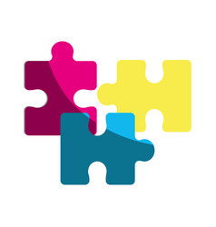 color parts puzzle mental game vector image