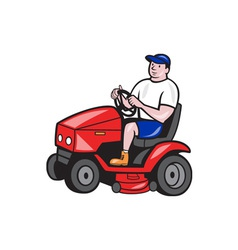 Gardener Mowing Rideon Lawn Mower Cartoon vector image vector image