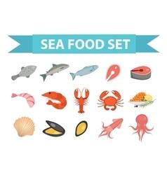 Seafood icons set flat style Sea food vector image