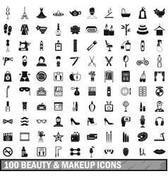 100 beauty and makeup icons set in simple style vector image vector image