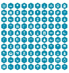 100 winter holidays icons sapphirine violet vector image vector image