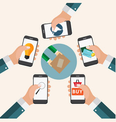mobile apps concept online business shopping e vector image