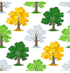 oak trees seamless vector image