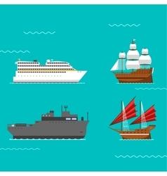 Ship and boats vector image vector image