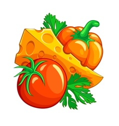 Tomato pepper vegetables and vector image vector image