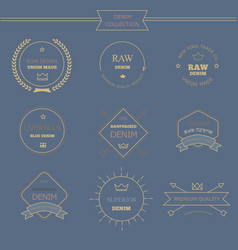 Vintage labels denim typography t-shirt graphics vector image vector image