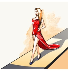 Woman on the runway vector image vector image