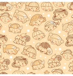 Zodiac signs girls seamless pattern background vector image