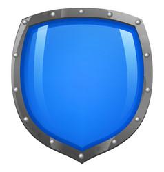 blue shiny glossy shield vector image