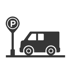 Car with parking meter icon on white background vector