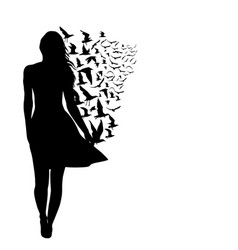 colorful silhouettes of woman with birds vector image