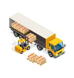 logistic isometric design composition vector image