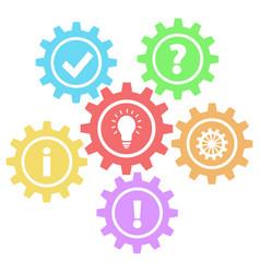 6 retro gears question work idea info ok amp vector image