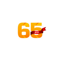 65 years anniversary celebration yellow with red vector