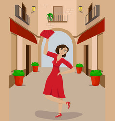a woman in a red dress in a dance pose on a vector image