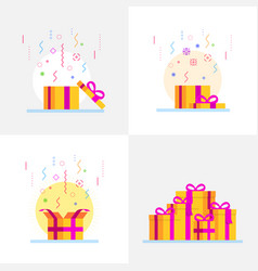 abstract gift boxes set flat style vector image