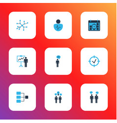 administration icons colored set with idea vector image