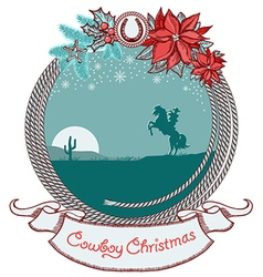 American cowboy Christmas card background with vector image