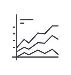 area graphics chart line icon sign vector image