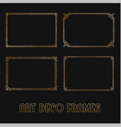 Art deco horizontal gold frames and borders set vector