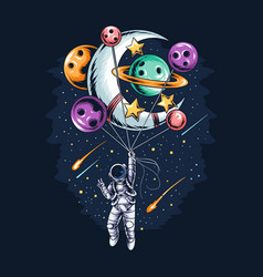Astronaut flying holding planet and moon vector