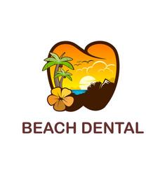Beach dental logo design logo with palm vector