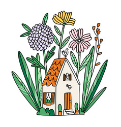 beautiful tiny house in flowers with cat in a vector image