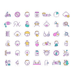 Breastfeeding and baby food rgb color icons set vector