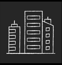 Business building chalk white icon on black vector