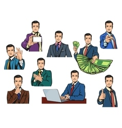 Businessman in cartoon style with gestures vector image