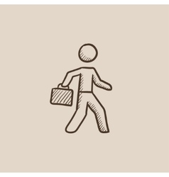 Businessman walking with briefcase sketch icon vector