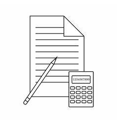 Calculator pencil and paper icon thin line style vector