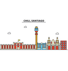 Chili santiago city skyline architecture vector
