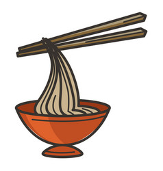 Chines food noodles in bowl with chopsticks vector