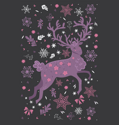 christmas deer and graphic elements graphics vector image