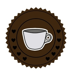 Color round frame with porcelain cup vector