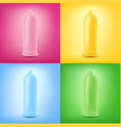 colorful set latex condoms vector image