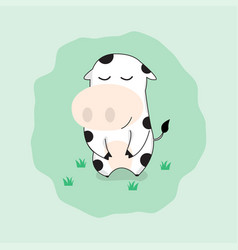 Cute cow cartoon character happy funny cow vector