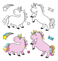 cute unicorn set for kids coloring book vector image