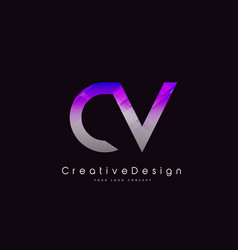 Cv letter logo design purple texture creative vector