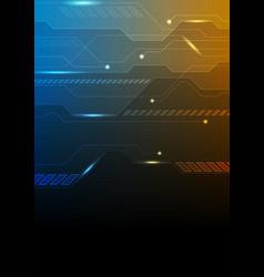 dark blue orange technology futuristic background vector image