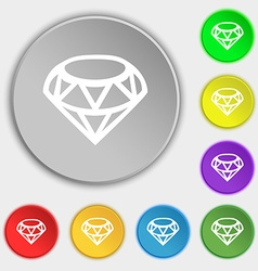 Diamond Icon sign Symbol on eight flat buttons vector image