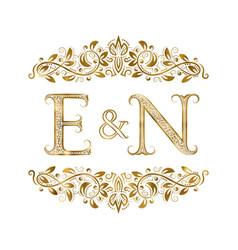E and n vintage initials logo symbol vector