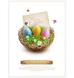 Easter eggs in a wicker nest green grass and vector