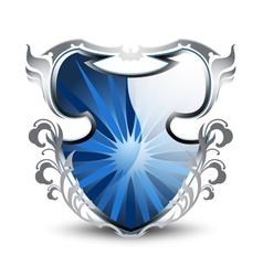 Elegant blue shield vector image vector image