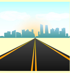empty straight road in the city on the horizon vector image