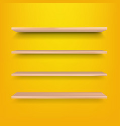 empty wooden shelf isolated yellow background vector image